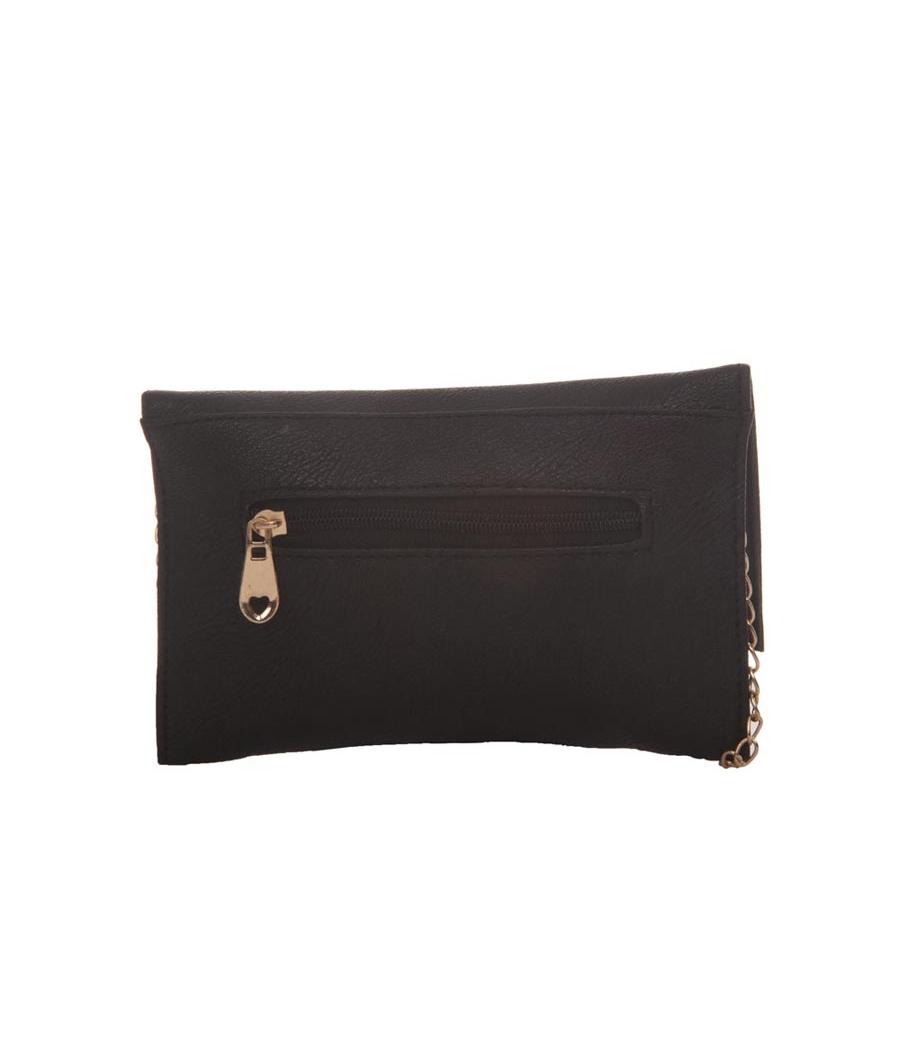 Envie Faux Leather Black Magnetic Snap Sling   Bag