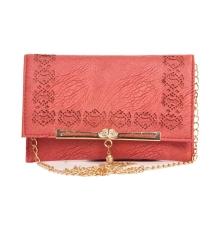 Envie Faux Leather Brown Magnetic Snap Croc Pattern Sling Bag