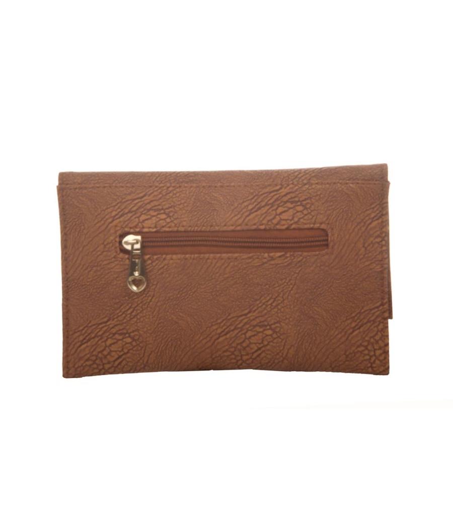 Envie Faux Leather Bronze Magnetic Snap Croc Pattern Sling Bag