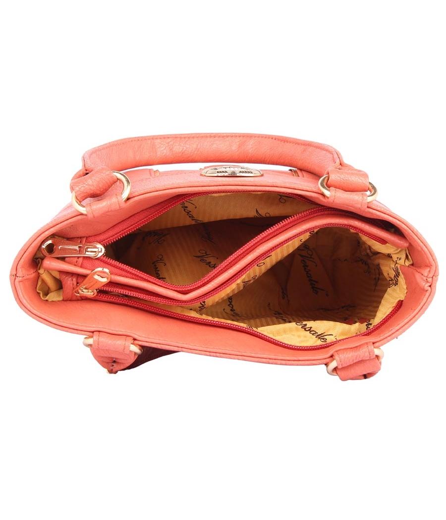 Aliado Faux           Leather Peach Coloured Zipper Closure Handbag