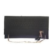 Envie Faux Leather Black Coloured Magnetic Snap Croc Pattern Sling Bag