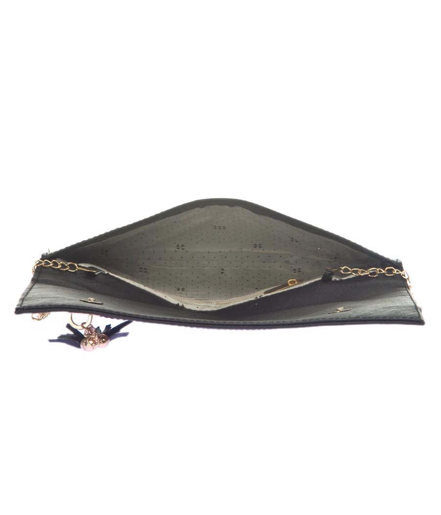 Envie Faux Leather Black Coloured Magnetic Snap Croc Pattern Sling Bag