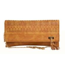 Envie Faux Leather Brown Coloured Laser Cut Sling Bag