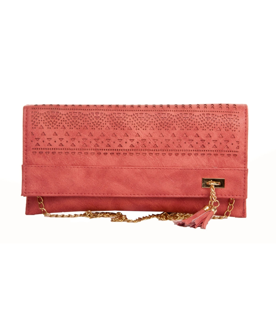 Envie Faux Leather Solid Peach Laser Cut Magnetic Snap Sling Bag
