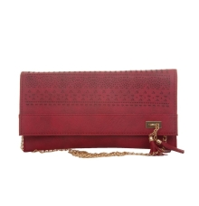 Envie Faux Leather Pink Magnetic Snap Croc Pattern Sling Bag