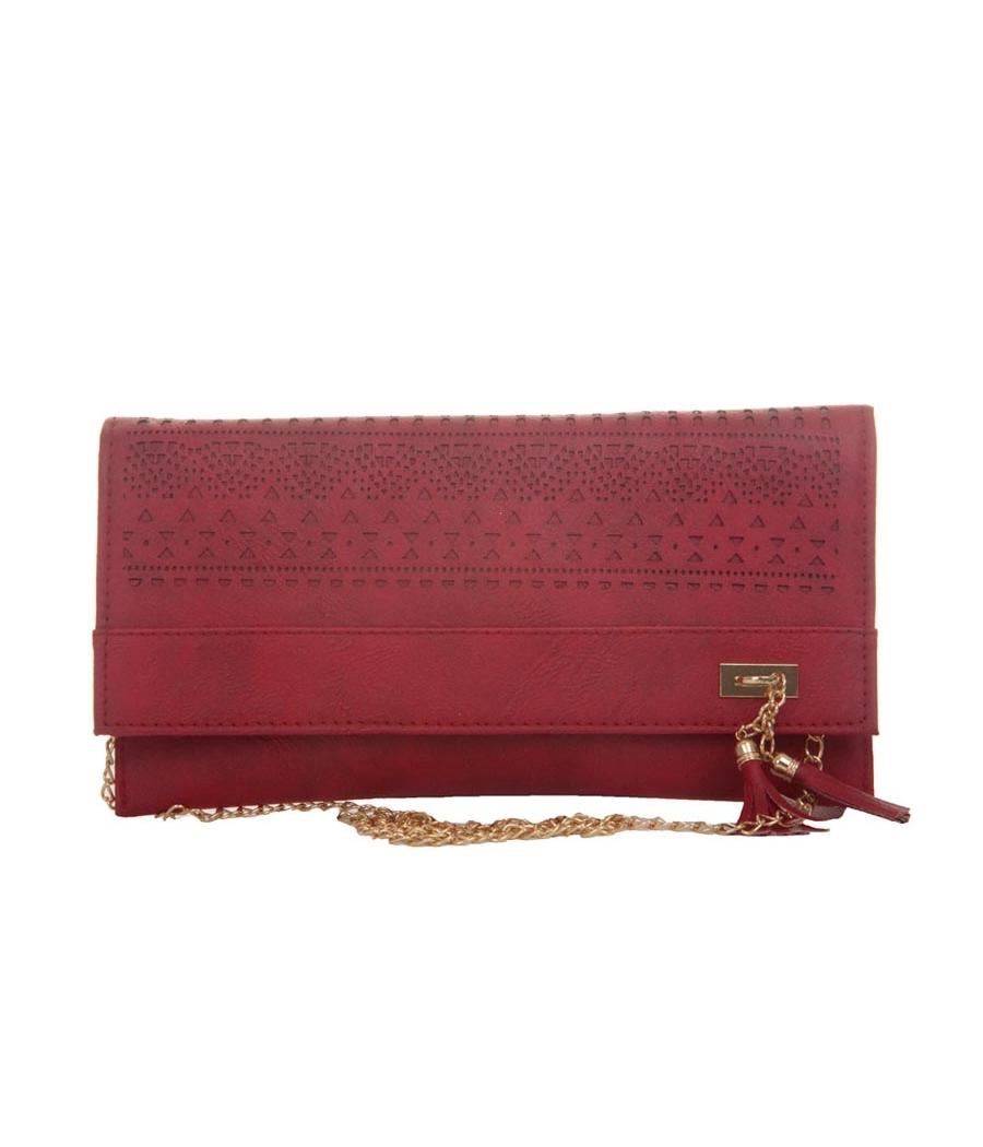 Envie Faux Leather Pink Magnetic Snap Croc Pattern Sling Bag