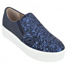 Estatos Sparkly  Leather Broad Toe  Comfortable Platform Heel Blue Sneakers for Women