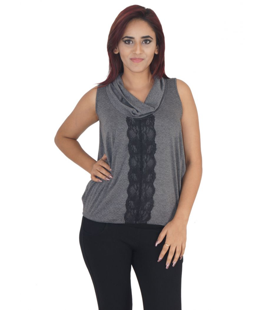 AND Hosiery Grey & Black Cowl Neck Lace Embellished Sleeveless Casual Top