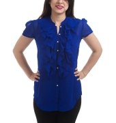 Zink Georgette Solid Navy Blue Half Sleeves Ruffle Design Top