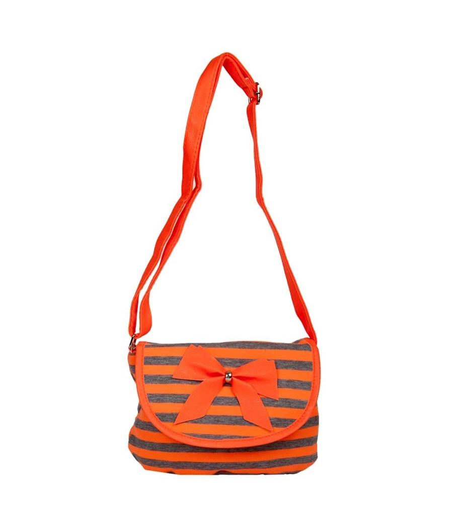 Envie Orange & Grey Zipper Closure Printed Pattern Sling Bag
