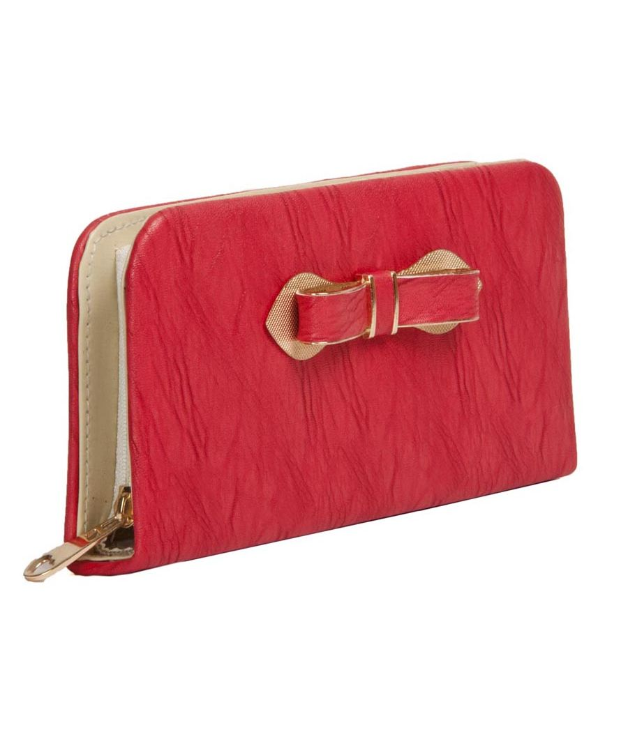 Envie Faux Leather Red Croc Pattern Zipper Closure Clutch for Women