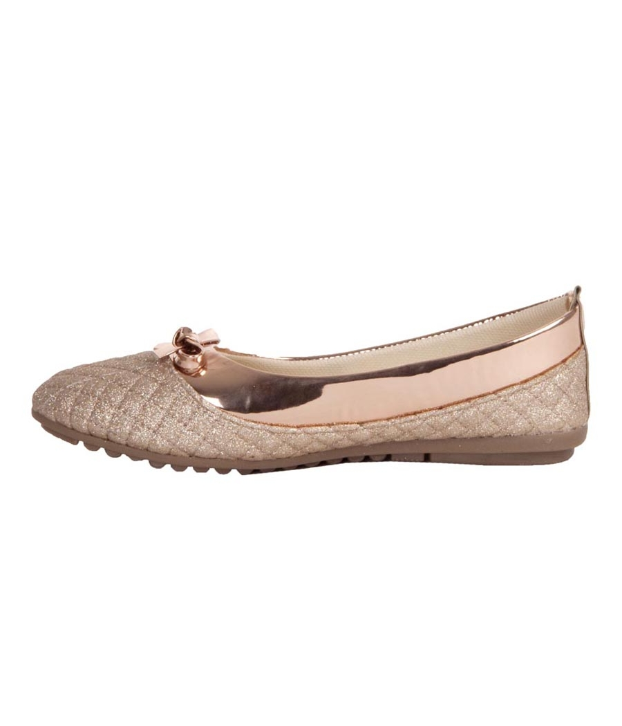 MCS Synthetic Leather Gold Coloured Broad Toe Party Flats