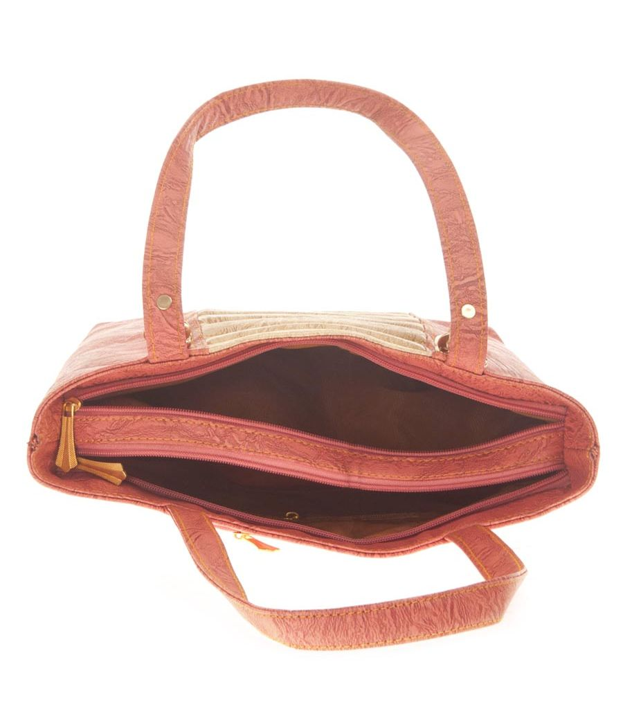 Aliado Faux Leather Pink Zipper Closure Croc Pattern Handbag for Women