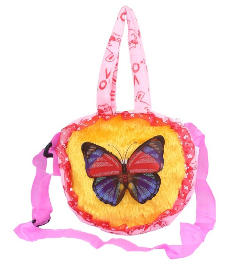Envie Faux Fur Pink and Yellow  Coloured Embellished Zipper Closure Bag