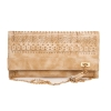 Envie Faux Leather Cream Coloured Magnetic Snap Croc Pattern Sling Bag