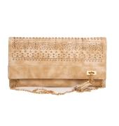 Envie Faux Leather Cream Coloured Magnetic Snap Croc Pattern Sling Bag
