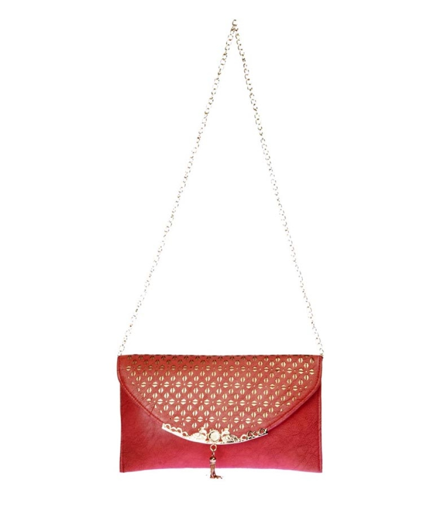 Envie Faux Leather Solid Peach Magnetic Snap Crossbody Bag