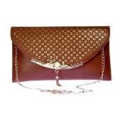 Envie Faux Leather Brown Coloured Embellished Sling Bag