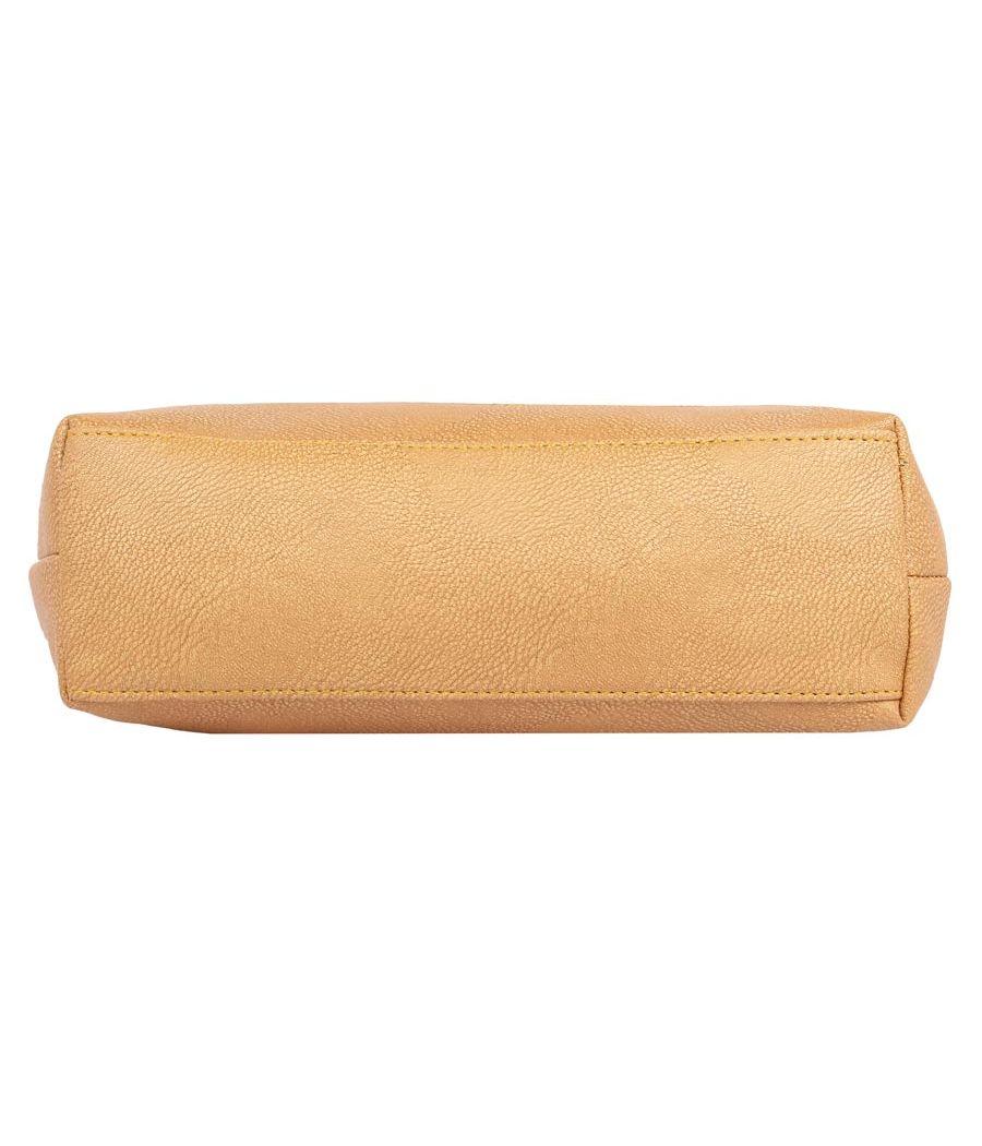 Aliado Faux Leather             Beige Coloured Zipper Closure Handbag