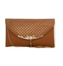 Envie Faux Leather Solid Beige Magnetic Snap Closure Stylish Sling Bag for Women