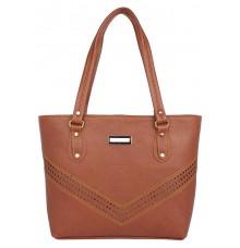 Aliado              Faux Leather Cofee Brown  Coloured Zipper Closure Handbag