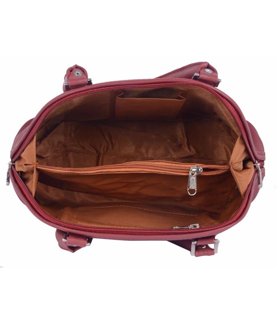 Aliado Faux Leather Magenta Coloured Zipper Closure Handbag