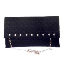 Envie Faux Leather Black Embellished Sling Bag for Women