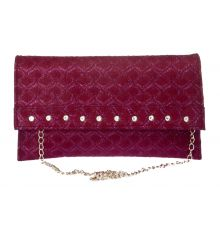 Envie Faux Leather Magenta Magnetic Snap Sling Bag