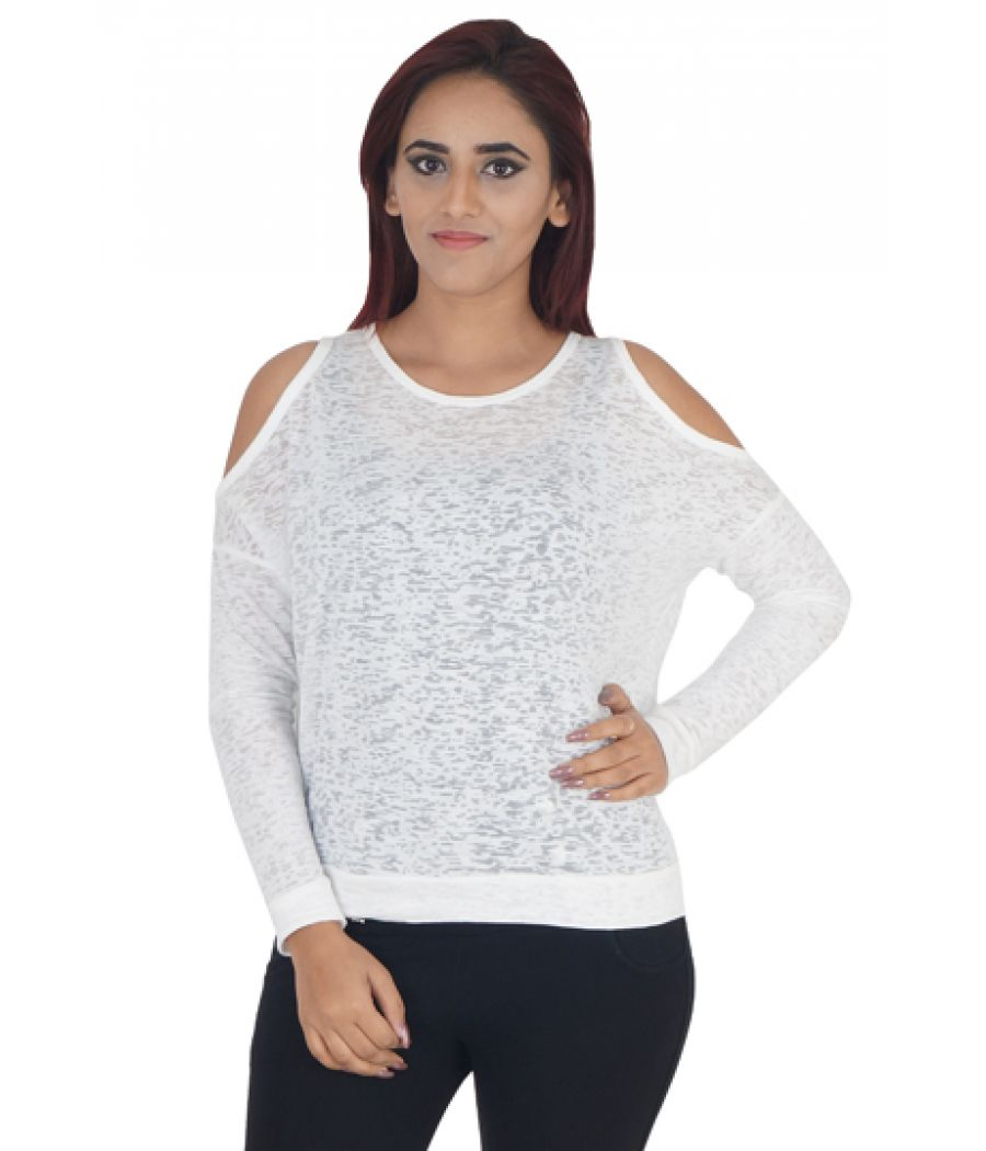 Zara Lycra Plain Solid White Round Neck Full Sleeves Cold Shoulder Top