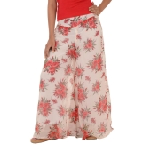 Estance Georgette Floral Print White/Red Palazzos
