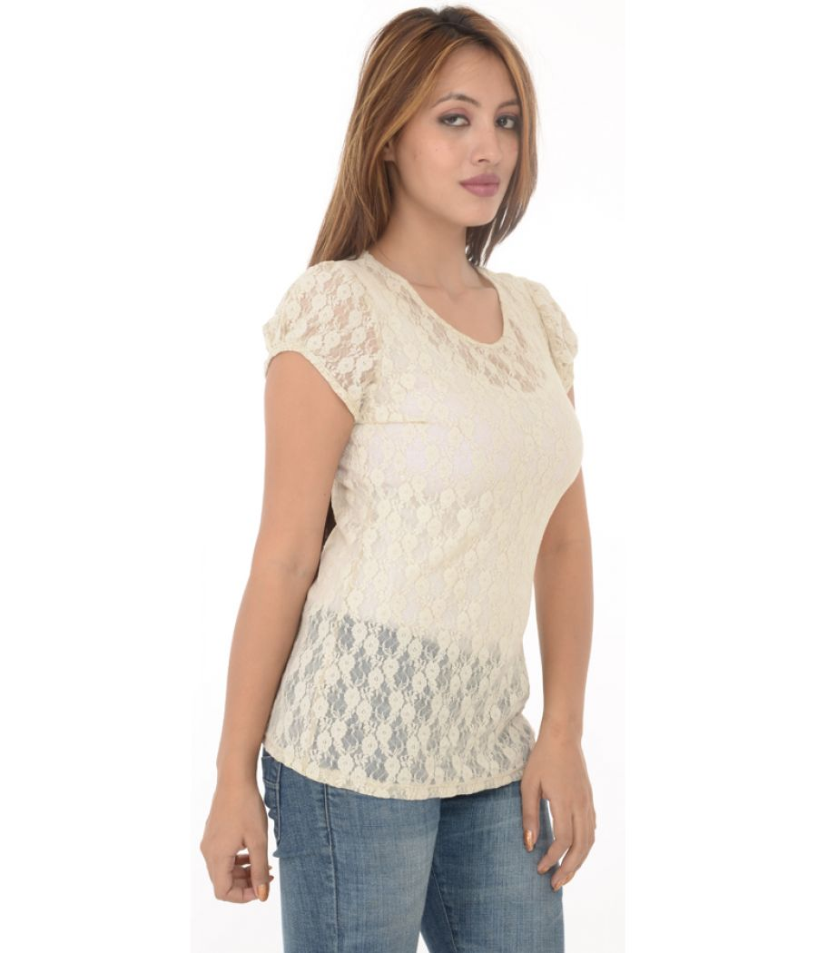 Promod Off White Lace Top