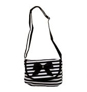 Envie  White & Black Striped Pattern Zipper Closure Sling Bag