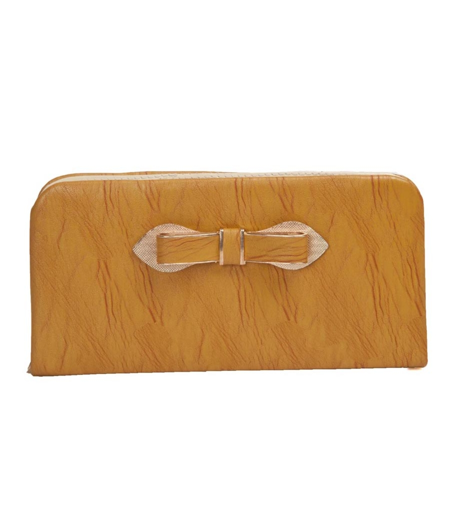 Envie Light Brown Zipper Closure Clutch