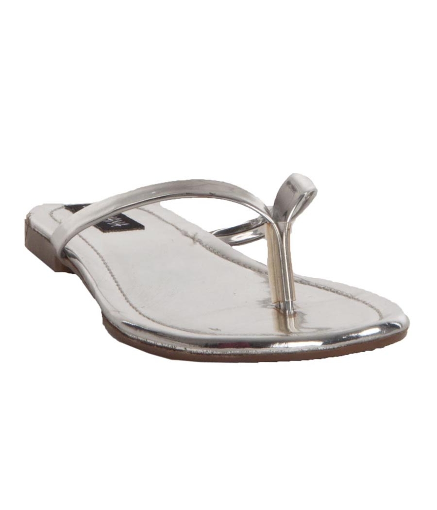 MCS Synthetic Leather Silver Open Toe V Strap Casual Flip Flops
