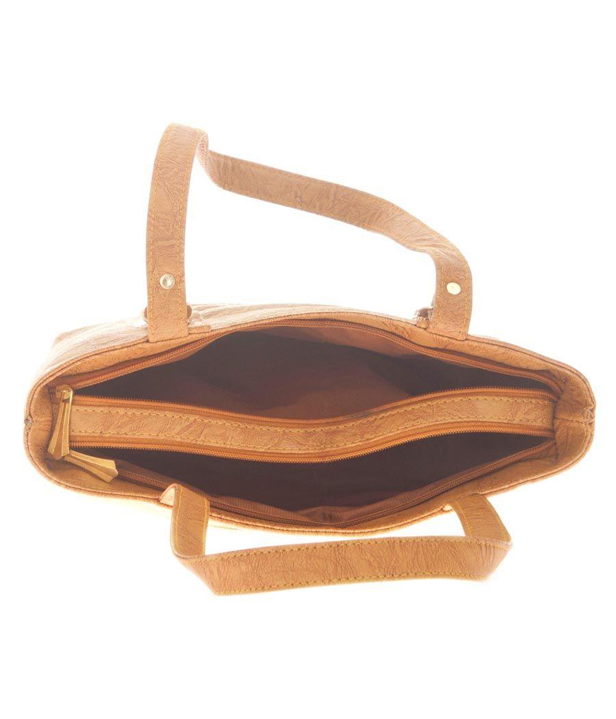 Aliado Faux Leather Beige Coloured Zipper Closure Croc Pattern Tote Bag for Women