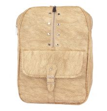 Aliado Faux Leather Beige Coloured Zipper Closure Backpack