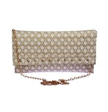 Envie Faux Leather White Embellished Sling Bag
