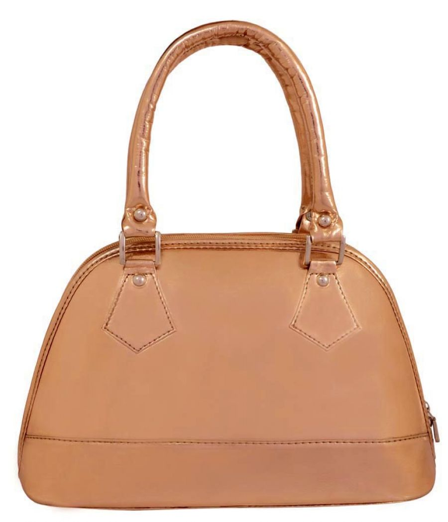 Aliado Faux Leather Bronze Coloured Zipper Closure Handbag