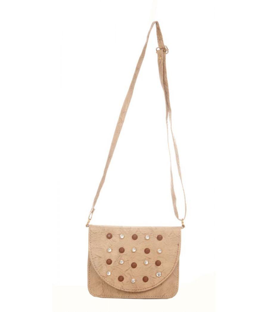 Envie Faux Leather Embellished Beige Magnetic Snap Sling Bag