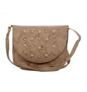 Envie Faux Leather Cream Coloured Magnetic Snap Embellished Sling Bag