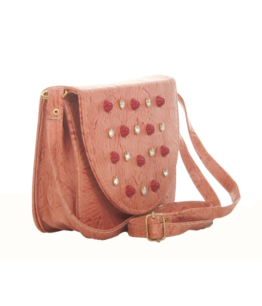 Envie Faux Leather Embellished Peach Magnetic Snap Crossbody Bag