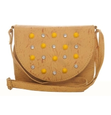 Envie Faux Leather Embellished Yellow Magnetic Snap Crossbody Bag