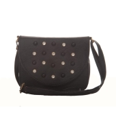Envie Faux Leather Embellished Black Magnetic Snap Crossbody Bag