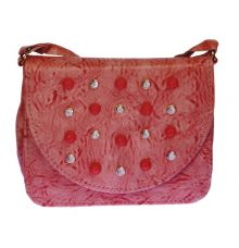 Envie Faux Leather Pink Embellished Magnetic Snap Crossbody Bag