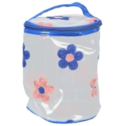 Aliado PVC transparent Cylendrical Zipper with Peach and Blue embroidery cosmetic bag/pouch/cover