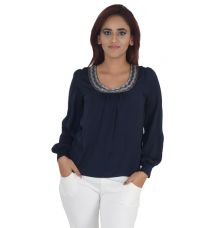 Dorothy Perkins Crepe Solid Embellished Full Sleeves Casual Top