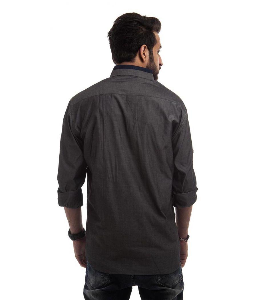 Mandira Bansal Polycotton Plain Grey Below Waist Regular Formal Shirt