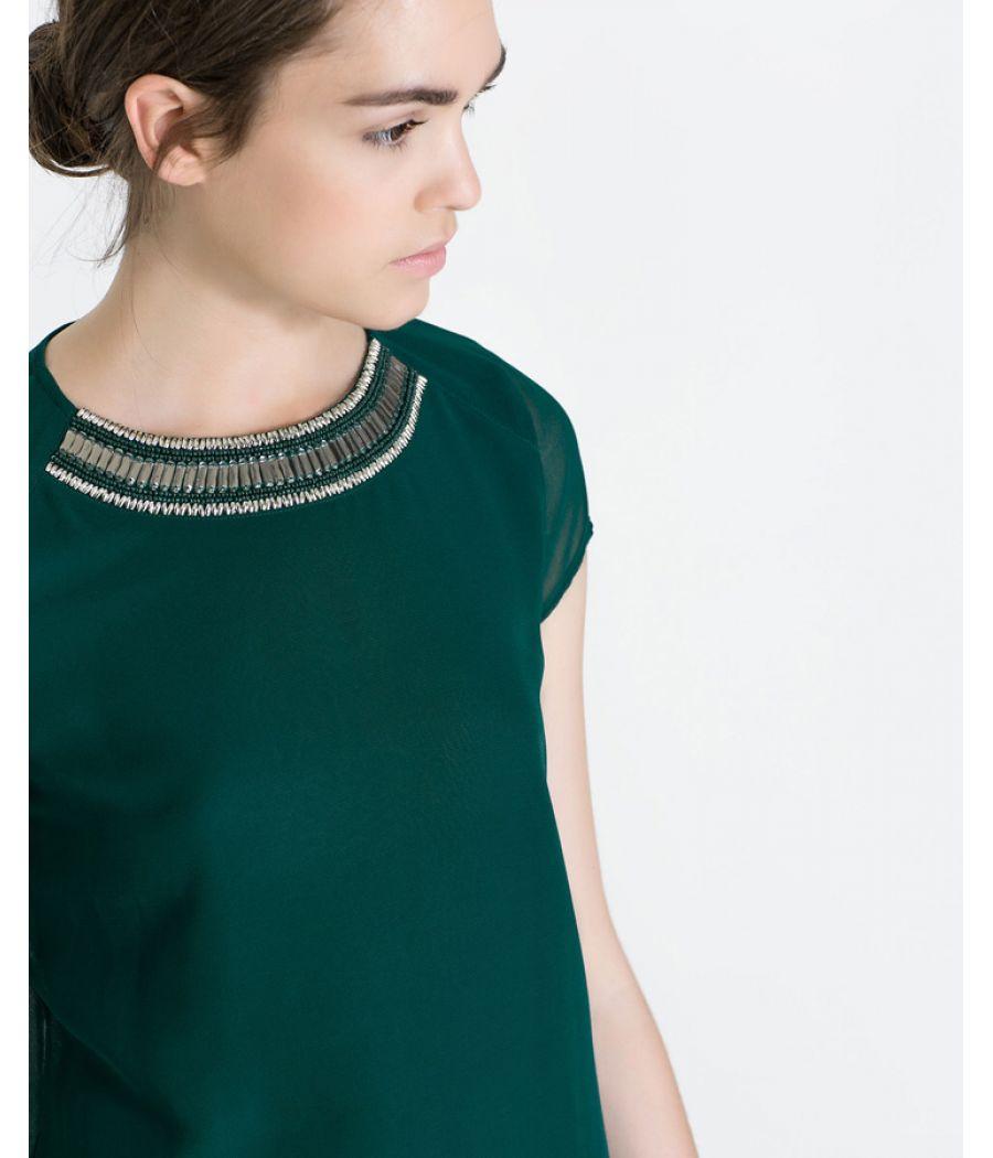 Zara Green Sequined Top