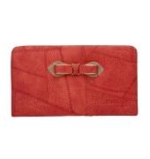 Envie Faux Leather Red Zipper Closure Croc Pattern Clutch for Women