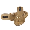 MCS Synthetic Leather Gold Open Toe V Strap Flat Heel Casual Flip Flop